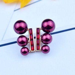 Henri Bendel Zircon Butterfly Red Pearl Earrings